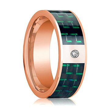 Mens Wedding Band 14K Rose Gold and Diamond with Black & Green Carbon Fiber Inlay Flat Polished Design