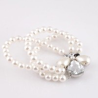 1pcs Lovely Fashion Unique Elastic Three Layers Pearl Waterdrop Beaded Bracelet