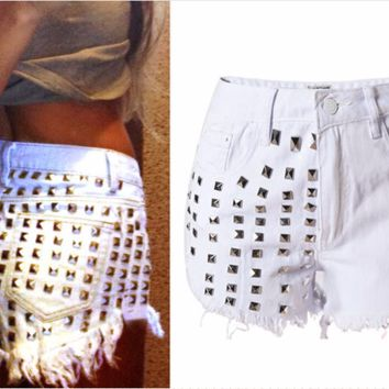 Trendy Rivet White Stylish Shorts