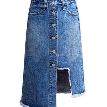 Streetstyle  Casual Blue Denim Bleached Single Breasted A-Line Midi Dress