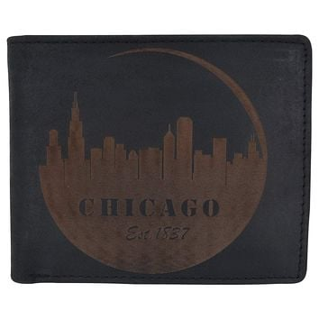 Chicago City Logo RFID Mens Leather Credit Card ID Bifold Wallet