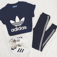 """Adidas"" Sexy Short Shirt Crop Top Tee"