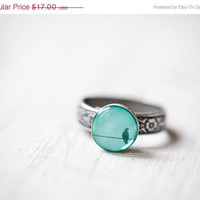 Mint bird ring - Winter jewelry - Pastel trend - Adjustable ring (R040)