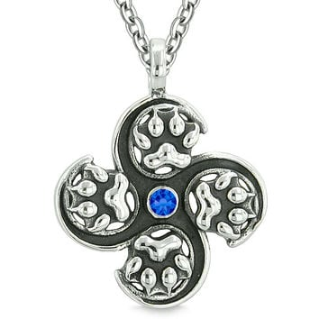 Supernatural Wild Wolf Paw All Forces of Nature Powers Amulet Royal Blue Crystal Pendant 18 Inch Necklace