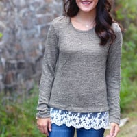 Lovely Lace Sweater {Dk. Olive}