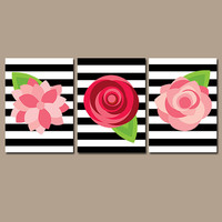 Preppy Flower Wall Art Artwork ROSES Red Pink Black White Stripes Nursery Floral Wedding Bouquet Dahlia Set of 3 Prints Decor Bathroom Three