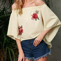 Fashion  Tops Women  Off Shoulder Foral Embroidery Womens Blouses Half Sleeve Loose Cold Shoulder Tops Ladies #23 GS