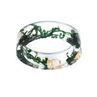 Vintage Jewelry Seaweed Resin Ring Transparent Rings For women wedding Party Fashion Accessories Gifts