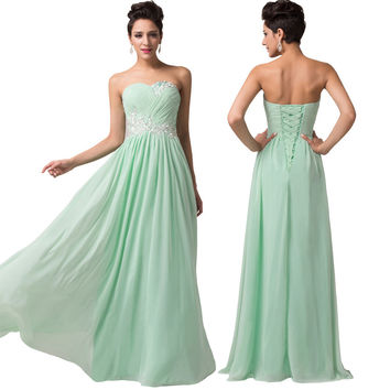 Beautiful Women Mint Light Green Lace Chiffon Long Bridesmaid Dress for Party Dance CL6107Y