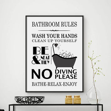 Bathroom Rules Wall Art. Bathroom Rules Bathroom Print Bathroom Decor Bathroom Sign Bathroom Rules Sign