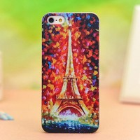 Cool Unique Oil Painting Eiffel Tower Relief Hard Cover Case Iphone 5