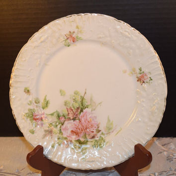 Shabby Chic Floral Lunch Plate Vintage Pink Rose Lunch Salad Plate Molded Border Shabby Chic Plate Dinnerware Afternoon Tea Floral Plate