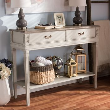Baxton Studio Arte French Provincial Style Weathered Oak and White Wash Distressed Finish Wood Two-Tone 2-Drawer 1-Shelf Console Table Set of 1