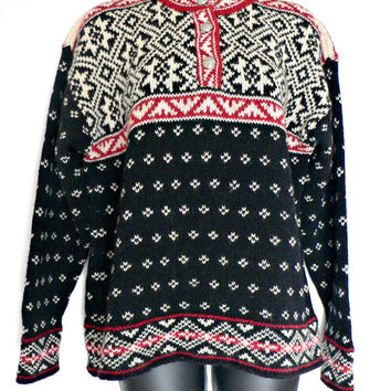 L.L. Bean Nordic Style Sweater - Warm Wool Blend - Cute Nordic Ski Style - Fair Isle Snowflake & Birdseye Design - Henley Collar - Womens