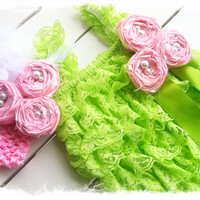 Lime Green Petti Lace Romper 3pc Set-Ruffled Petti Lace Romper-Photo Props-Baby Girls Wedding ApparelSZ 6mo,12mo,18mo,24mo,2T,3T,4T