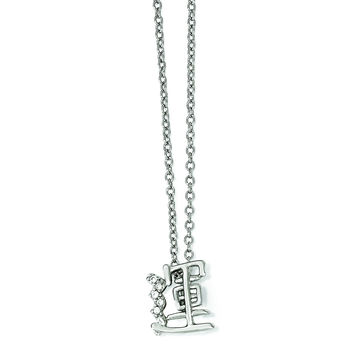Cheryl M Sterling Silver CZ Chinese Good Fortune Symbol 18in. Necklace QCM1244