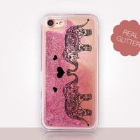 Elephants Glitter Phone Case - Transparent Case - Clear Case - Transparent iPhone 7 - Clear iPhone 7 Plus - Gel Case - iPhone 6/6S