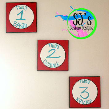 Thing one Dr.Seuss inspired painting, Thing one and Thing two, Dr.Seuss canvas painting, Dr.Seuss Nursery decoration, Dr.Seuss painting,