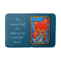 Sleeping Cat Quote with Monogram and Pink Flowers Bathroom Mat