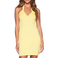 OH MY LOVE Halter Bodycon Dress in Yellow | REVOLVE