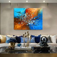 """Contemporary Abstract Wall Art Modern Painting Blue Large Artwork, Office Decor or lobby, Painting on Canvas by Nandita 48""""x36""""(122cmx92cm)"""