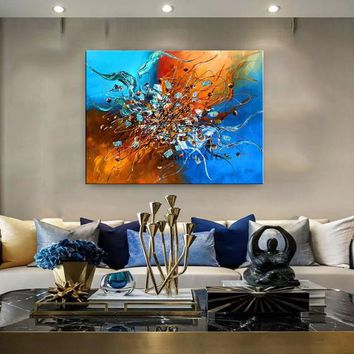 "Contemporary Abstract Wall Art Modern Painting Blue Large Artwork, Office Decor or lobby, Painting on Canvas by Nandita 48""x36""(122cmx92cm)"