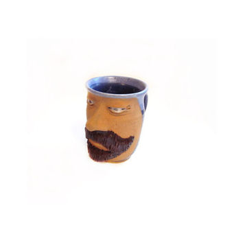 Signed Pottery Mug / Coffee Cup, Glorious Beard / Face