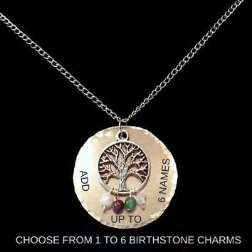 Birthstone Tree of Life Necklace, Hand Stamped Mother's Necklace, Family Tree Necklace, Personalized Tree of Life Pendant, Gift for Her