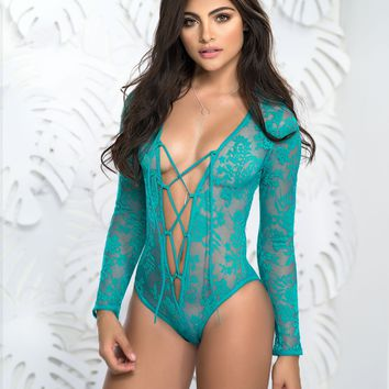 Sassy Turquoise Lace Up Front Sheer Lace Teddy
