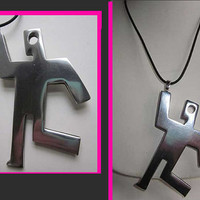 Hip-Hop Keith Haring Style Running Man Modernist Aluminum Pendant Necklace,Germany,Vintage Jewelry,Unisex