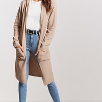 Hooded Open-Front Cardigan