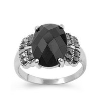 High Fashion Sterling Silver Quad Design Marcasite Ring with Oval Black CZ