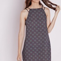 DOUBLE STRAP LOW BACK CAMI DRESS BLUE TILE PRINT