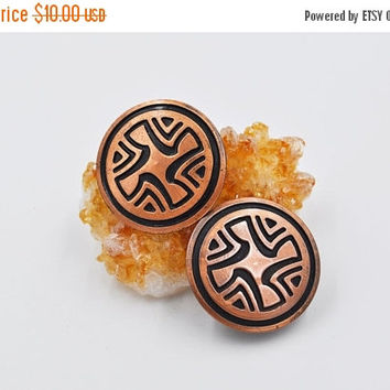 ON SALE Vintage Solid Copper Clip Earrings, Round, Disc, Abstract Symbol, Modernist, Mid Century Modern, Mcm, Signed, So Cool! #b571