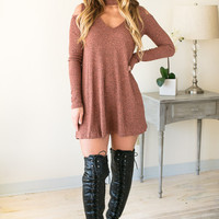 Spicy Pumpkin Choker Neck Ribbed Dress
