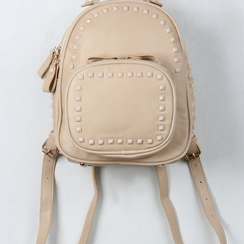 Studded Vegan Leather Mini Backpack