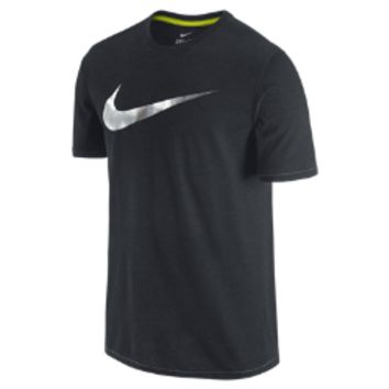 Nike Swoosh Knurling Lux Men's T-Shirt Size Medium (Black)