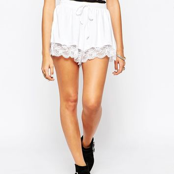 ASOS Jersey Culotte Shorts With Lace Hem
