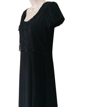Vintage Laura Ashley Dress Black Lace Dress Long Black Dress Long 90s Dress Black Boho Dress Long Silk Dress Size 6 Short Sleeve Dress 1990s