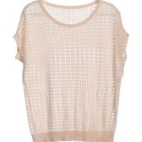 Hollow Out Short Sleeves Knitwear in Nude