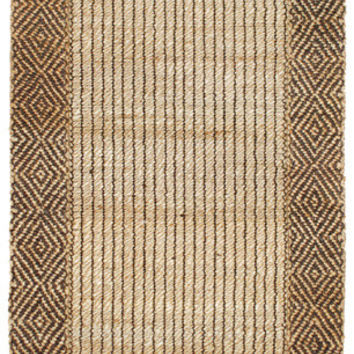 Braided Diamond Border Jute Area Rug in Brown and Natural design by Classic Home