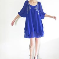 Vintage Blue Kaftan Dress , Seethrough , TFNC London , Size M ,Pocket dress , Above Knee Length