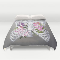 Floral Ribcage Duvet Cover by Trisha Thompson Adams