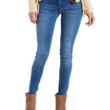 Med Wash Denim Fleece-Lined Skinny Jeans by Charlotte Russe