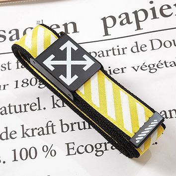 Off White Fashion New Stripe Arrow Print Leisure Canvas Belt 110cm Yellow