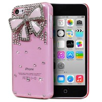 Fosmon GEM Series 3D Bling Design Case for Apple iPhone 5C (Pink Case / Pink Bow)