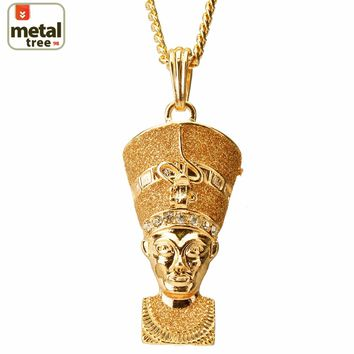 "Jewelry Kay style Fashion Mini Iced Out Egyptian Pharaoh Pendant 30"" 4 mm Cuban Chain Necklace Set"
