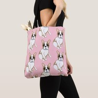French Bulldogs Fawn Pied Print Pink Tote Bag