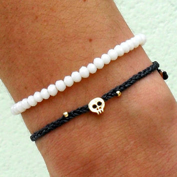 Tiny skull bracelet  16 k gold plated skull bead by Beadstheater
