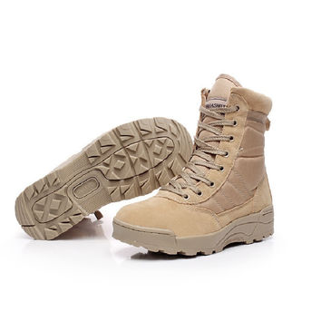 Army Men's Tactical Boots Desert Outdoor sport Hiking Boots Military Combat Shoes Breathable Ankle Boots Size 39-45